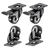 "bayite 4 Pack 2"" Heavy Duty Caster Wheels Polyurethane Swivel Casters with 360 Degree Top Plate 220lb Total Capacity for Set of 4 (2 with Brakes) Black"