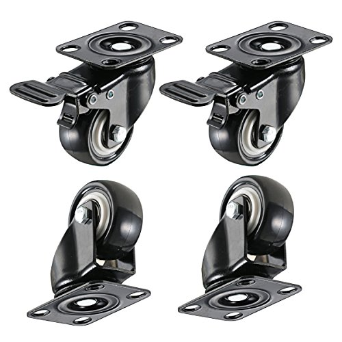 bayite 4 Pack 2'' Heavy Duty Caster Wheels Polyurethane PU Swivel Casters with 360 Degree Top Plate 220lb Total Capacity for Set of 4 (2 with Brakes& 2 without) Black by bayite