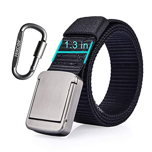 Simple Release Metal Buckle Nylon Casual Belt, Military User Tactical Belt, Suitable For Outdoor Sports, Travel, Leisure, Everyday Wear (Black)