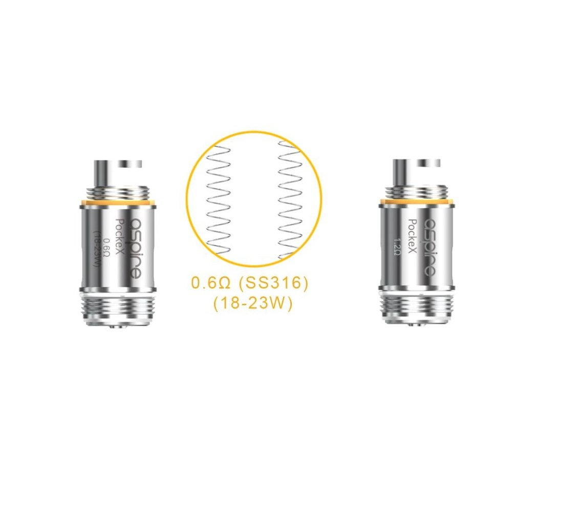 Aspire PockeX Ω 1 2 ohm Clapton (pack of 5) Genuine Atomizer U-Tech  Replacement Coil | for Aspire Pockex Starter Kit, AIO, All in One, Pocket  e-cigs |