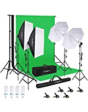 PHOPIK Softbox Lighting: Photo Studio Professional Photography Continuous Softbox Kit with 8.5ftx10ft Stand Background Support System 4 85W 5500K E27 Bulbs for Portrait and Video Shooting