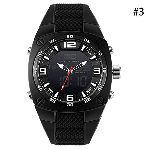 Dial Dive (Gracefulvara Men's Big Dial Waterproof Dive Sport Watches Led Digital Analog Watch (black))