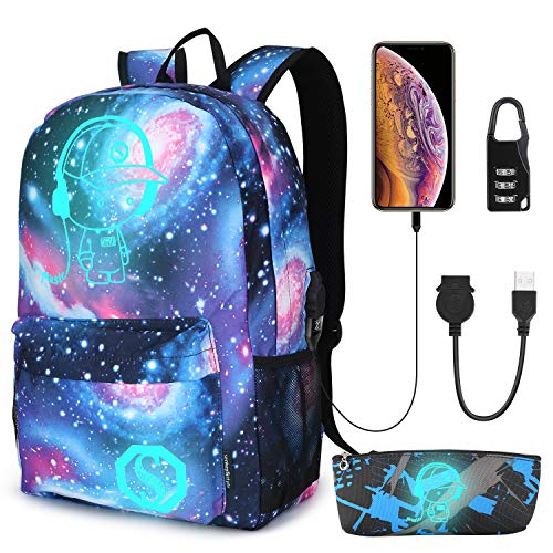 Pawsky Galaxy Backpack for School, Anime Luminous Backpack College Bookbag Anti-Theft Laptop Backpack with USB Charging Port (Picture Backpack)