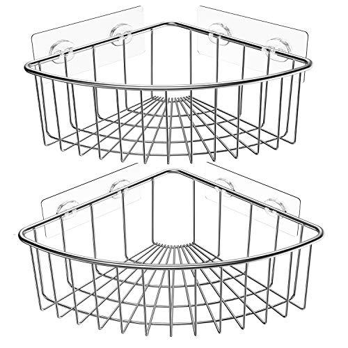 SMARTAKE 2-Pack Corner Shower Caddy Deep Basket Design, SUS304 Stainless Steel, Wall Mounted Bathroom Shelf with…