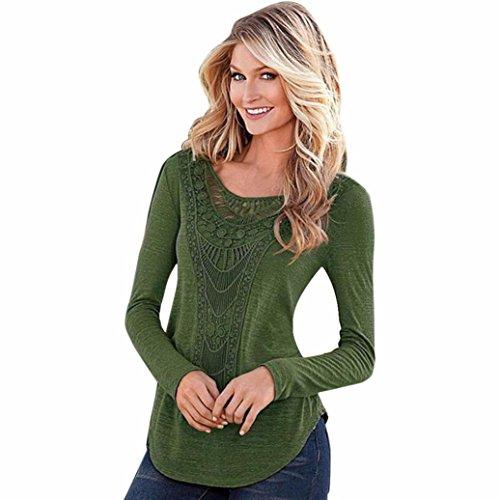 Gillberry Women Loose Long Sleeve Tops Blouse Shirt Casual Hollow T-Shirt (M, Green)