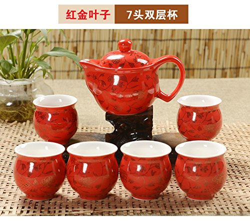 Chinese Tea Pot with Beautiful Design 15oz Tea Pot, the Cups Are All 4oz, 7pcs with a Fancy Gift Box. a best selling tea set #B29