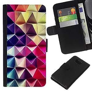 [Neutron-Star] Modelo colorido cuero de la carpeta del tirón del caso cubierta piel Holster Funda protecció Para Samsung ALPHA G850 [Patrón de arte 3D púrpura rosa a cuadros]