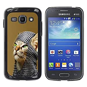 PC/Aluminum Funda Carcasa protectora para Samsung Galaxy Ace 3 GT-S7270 GT-S7275 GT-S7272 American Shorthair Knight Cat / JUSTGO PHONE PROTECTOR