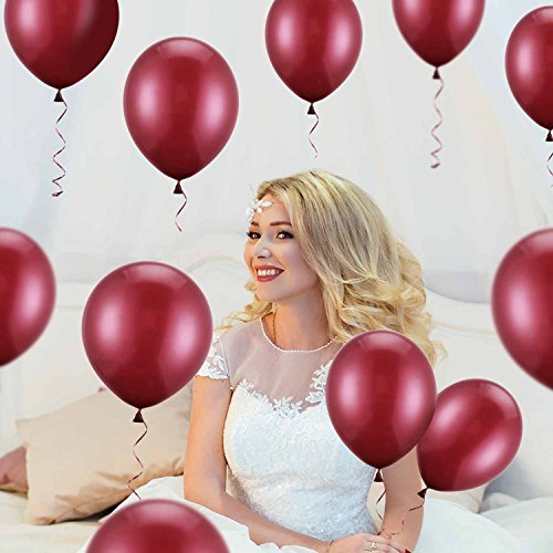 Hestya Burgundy Balloons 100 Pack 12 Inch Latex Party Balloons Burgundy Wine Red Balloons Solid Metallic Balloons Great for Weddings, Birthday Party, Bridal Shower, Party Decoration by Hestya (Image #2)