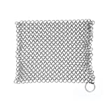 Cast Iron Cleaner, Stainless Steel Chainmail Scrubber Cookware Cleaner for Skillet, Wok, Pot, Pan | Does Not Rust like Steel Wool | Home & Camping | Protects Cookware Seasoning