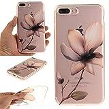iPhone 7 Plus - Case, iPhone 8 Plus Case, MerKuyom [Clear Transparent] [Slim-Fit] [Flexible Gel] Soft TPU Case Skin Cover + Stylus for Apple iPhone 7 Plus/iPhone 8 Plus 5.5-inch (Elegant Flower)