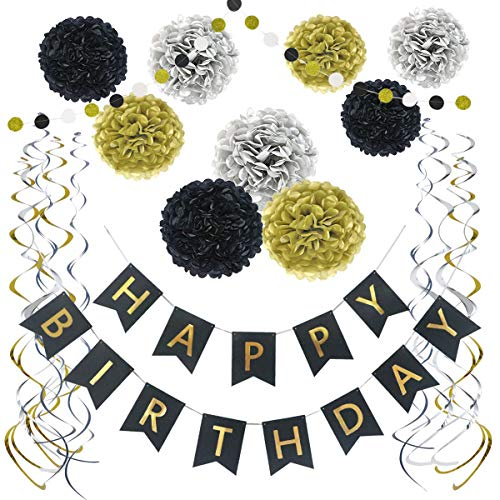 Litaus Birthday Decorations (Black and Gold Birthday Decoration) -