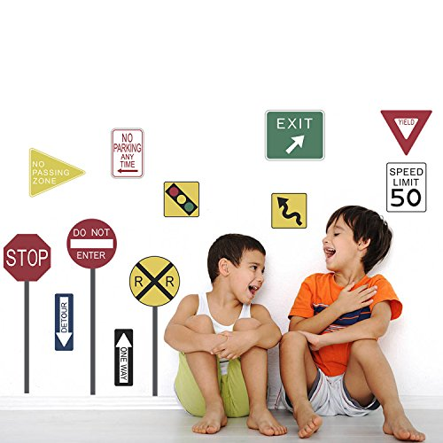 DecalMile Traffic Road Signs Education Wall Stickers Vinyl Removable DIY Wall Decals Murals for Kid's Room Nursery (Road Traffic Sign)