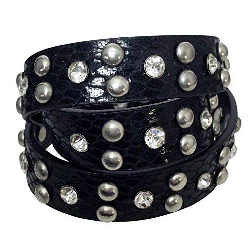 Black Faux Leather Silver Tone Studded Rhinestone Wrap Around Snap Bracelet (Snake Textured) -