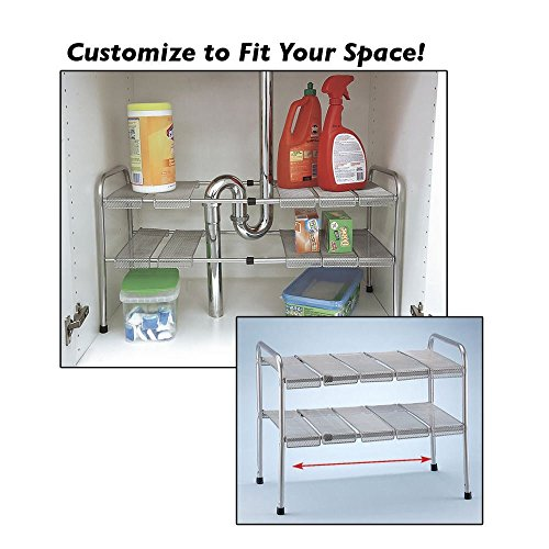 ATB 2 Tier Expandable Adjustable Under Sink Shelf Storage Shelves Kitchen Organizer (Supreme Bathroom Sink)