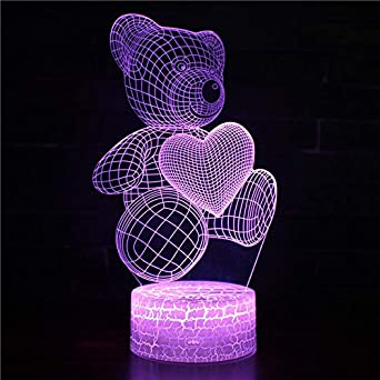 Lámpara de mesa 3D Luz de noche Pequeña caricatura Amor lindo Corazón Pareja oso Regalo de Navidad Juguetes encantadores Decoración de regalo para niños