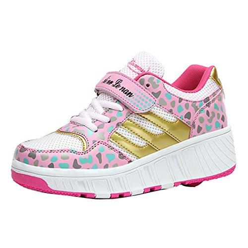 Coole Mädchen-Jungen-Frauen-Rollen-Schuh-Skate-Turnschuh-einziehbares einzelnes Rad Rosa
