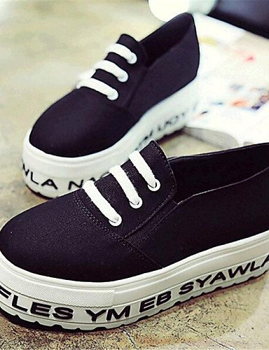 ZQ gyht Zapatos de mujer-Plataforma-Creepers-Mocasines-Exterior / Casual-Tela-Negro / Azul / Blanco , white-us8 / eu39 / uk6 / cn39 , white-us8 / eu39 / uk6 / cn39 white-us6 / eu36 / uk4 / cn36