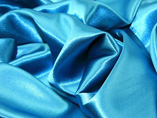 (Satin Backed Crepe Bridal Fabric Turquoise - per metre)