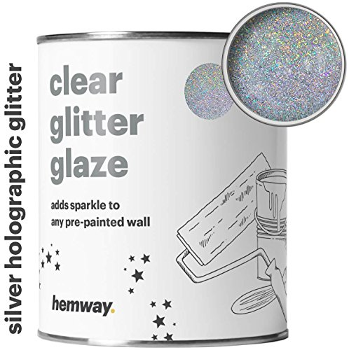 Hemway Clear Glitter Paint Glaze (Silver Holographic) 1L/Quart for Pre-Painted Walls Acrylic, Latex, Emulsion, Ceiling, Wood, Varnish, Dead flat, Matte, Soft Sheen, Silk (CHOICE OF 25 GLITTER COLOURS) (Glitter For Wallpaper Wall)