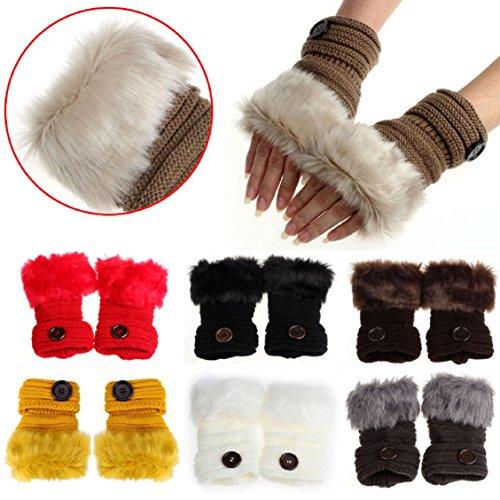 Guantes calientes para Mujeres,Ouneed ® Muñeca guantes sin dedos mitones de piel de conejo falso invierno caliente Amarillo