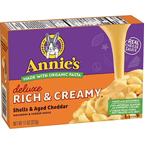 Annie's Deluxe Creamy Shells & Real Aged Cheddar Macaroni & Cheese, 12 Boxes, 11oz (Pack of 12)