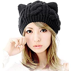 Voberry Women Stretch Knit Cat Ears Hollow Out Slouchy Beanie Skully Hat Beanie