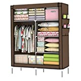 Holidayli Portable Wardrobe Clothes Closet Rack Storage Organizer Home DIY 43inch (Coffee)