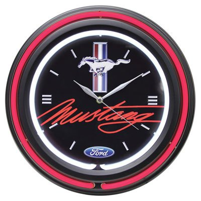 Ford Double Neon Wall Clock Mustang Clock