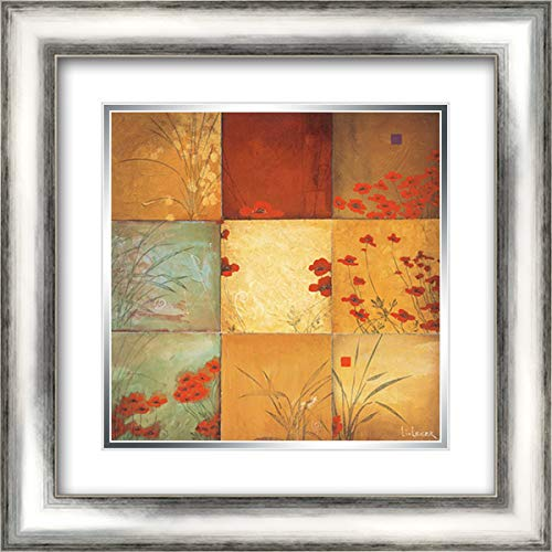 Poppy Nine Patch 20x20 Silver Contemporary Wood Framed and Double Matted Art Print by Li-Leger, ()