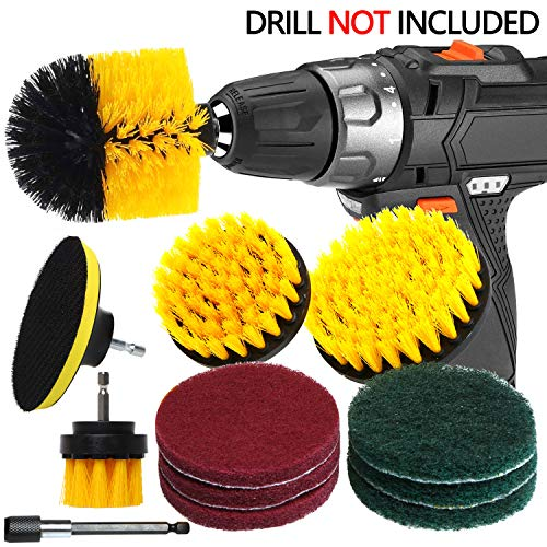 (QUIENKITCH SET/12Piece Drill Brush & Scrub Pads, Power Drill Scrub Brush Attachments with Drill bit Extender for Grout, Tiles, Sinks, Bathtub, Bathroom, Shower & Kitchen Surface)