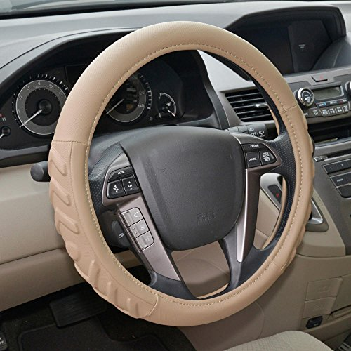 Motor Trend W706BG Beige Medium (14.5-15.5) 100% Odorless Steering Wheel Cover-Fit for Car SUV Van Truck-Comfort Cushion Grip, Tan, Strandard Size (14.5 to 15.5 inch) (15 1 2 Inch Steering Wheel Covers)