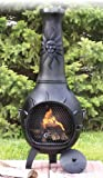 The Blue Rooster Co. Sun Stack Style Cast Iron Wood Burning Chiminea in Charcoal. For Sale