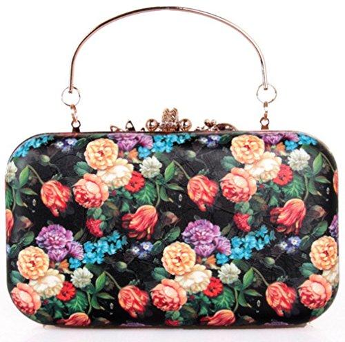 Rhinestone Clutch Women PU Bag Chain Rose Bettyhome Diff Evening Black Purse Fashion Color OFfaYIwq