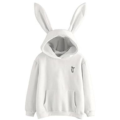Autumn Wind Sweatshirt Womens Embroidery Bunny Animal Thick Hoodie