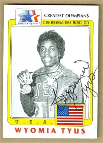 Autograph Warehouse 35596 Wyomia Tyus Autographed Card 1983 Greatest Olympians No. 60