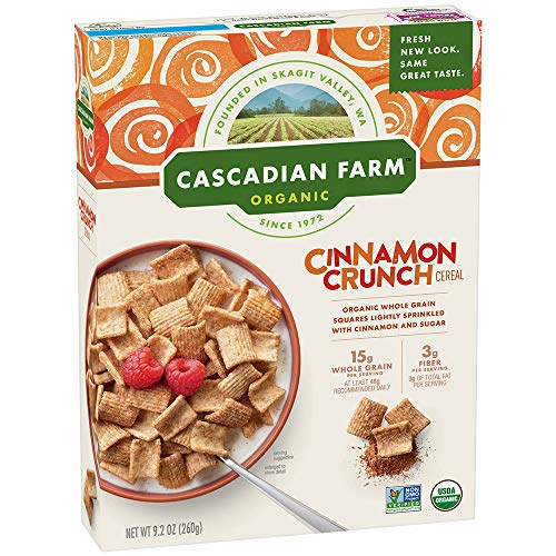 Cascadian Farm Organic Cereal, Cinnamon Crunch, Whole Grain Cereal, 9.2 oz