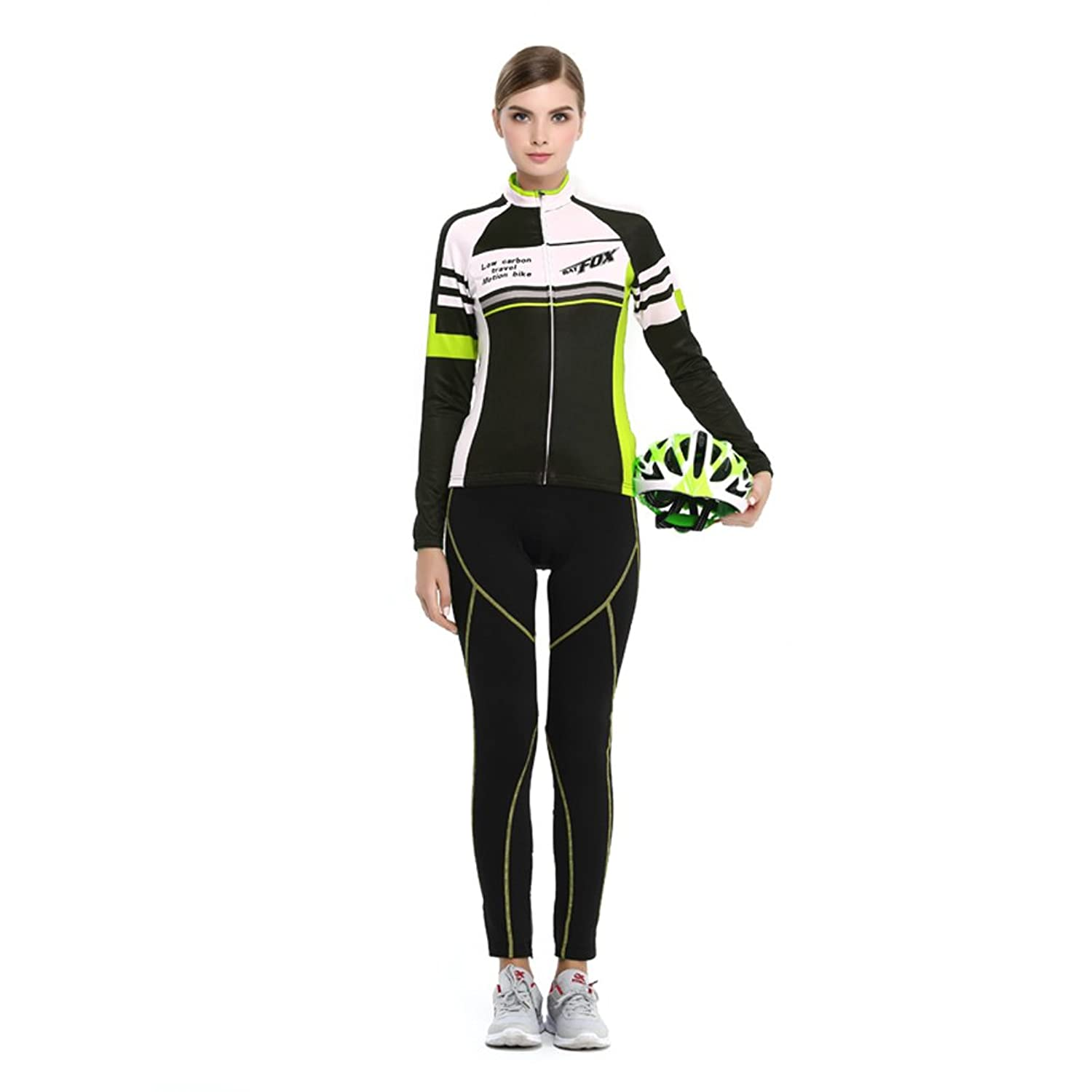 new Ophelia Outdoor Women s Cold Winter Fleece Long Sleeve Cycling Jersey  Pants Set  Ladies Long a05fbac91