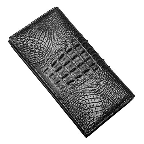 Crocodile Look Leather (P.KU.VDSL Men's Wallets, Genuine Crocodile Leather Long Bifold Wallet, Authentic Crocodile Skin, Durable Classic Vintage Look Accordion Style Crocodile Perfect For Business Trip Use (B - Black -Crocodile Leather))
