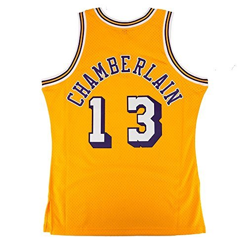 Wilt Chamberlain Los Angeles Lakers NBA Mitchell & Ness Gold 1971-72 Hardwood Classics Swingman Jersey For Men (S)