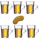 Viva Haushaltswaren - 6 dickwandige Latte Macciato Gläser mit Henkel 230 ml, Gläser Set ideal als Teegläser / Kaffeegläser / Glasbecher verwendbar (inkl. 6 Korkuntersetzer)