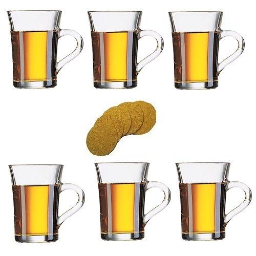 Viva Haushaltswaren - 6 dickwandige Glasbecher / Kaffeebecher / Latte Macchiatogläser, Teebecher aus Glas mit Henkel 230 ml inklusive 6 Korkuntersetzern