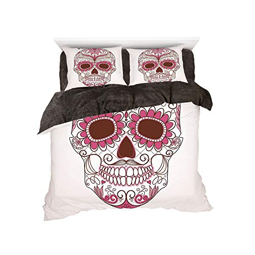 Flannel 4 Piece Cotton Queen Size Bed Sheet Set for bed width 5ft Winter Holiday Pattern by,Sugar Skull Decor,Mexican Ornaments Calavera Catrina Inspired Folk Art Macabre Decorative,Pink Light Pink Wh -