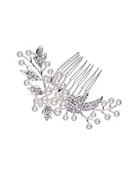 Elegant Pearl Rhinestone Wedding hair accessories Bride Bridal Leaf Hair Comb Head Pieces hair jewelry