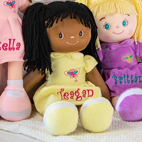 Personalized Dibsies Butterfly Snuggle Doll - 15 Inch (Black Hair)
