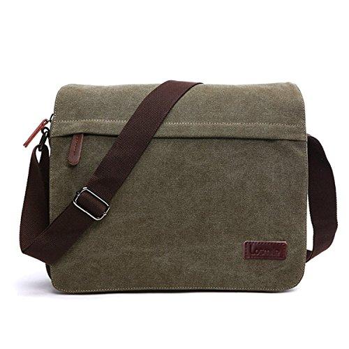 Messenger Bag, LOSMILE Laptop Shoulder Bag Vintage Canvas Crossbody Bags For - Messenger Bag 13' Green