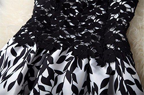 QIYUN.Z Las Mujeres Sin Mangas De Hojas De Encaje De Ganchillo Vestido De Partido De La Manera Impresa Vestidos Tunica Negro