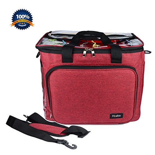 Knitting Bag for Yarn Storage, Hoshin Portable Crochet Tote Bag Yarn Organizer for Crochet Patterns and Hooks, Needles, Skeins of Yarn-Enjoy Knitting /Crocheting Anywhere (Red)