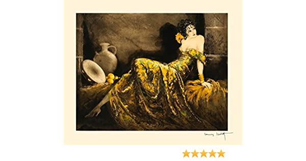 Masquerade lady wearing mask  Louis ICart Art Deco 5 x 7 photo print