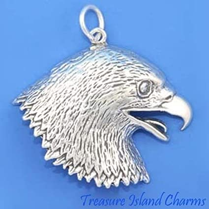 925 Sterling Silver Eagle Head Charm Made in USA